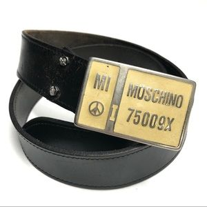 Vintage Moschino Brown Leather Belt With Buckle